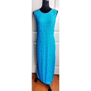Darian sleeveless turquoise maxi dress with roses